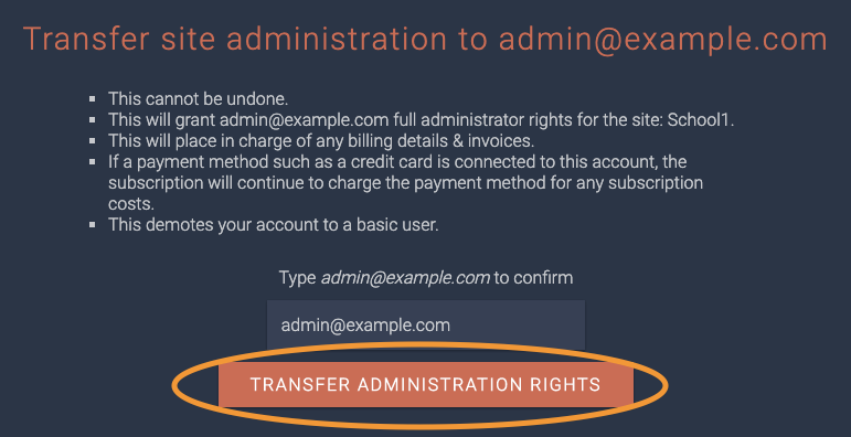 transfer administration rights