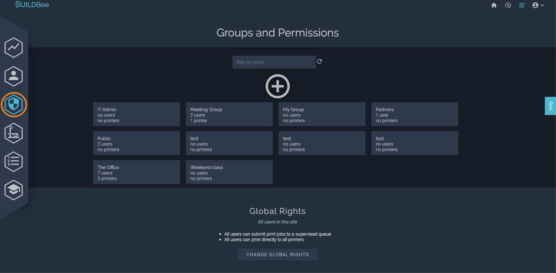 BuildBee groups and permissions