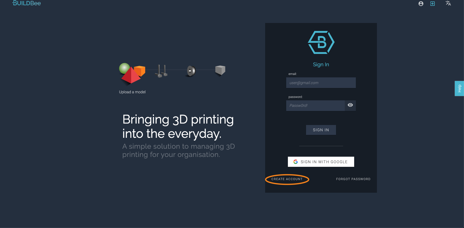 BuildBee create account